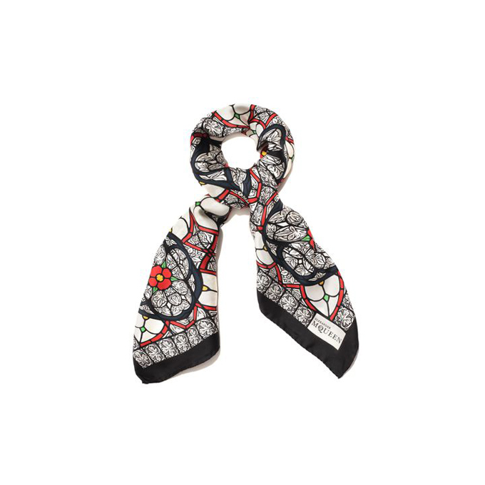 ALEXANDER MCQUEEN MEN STAINED SCARF GLASS SILK