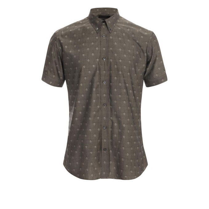 ALEXANDER MCQUEEN MEN HIDDEN SHIRT SKULL POLKA-DOT
