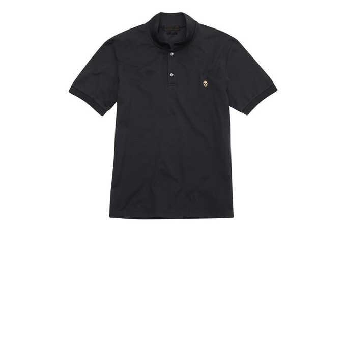 ALEXANDER MCQUEEN MEN PIQUE POLO-SHIRT COTTON EMBROIDERED SKULL