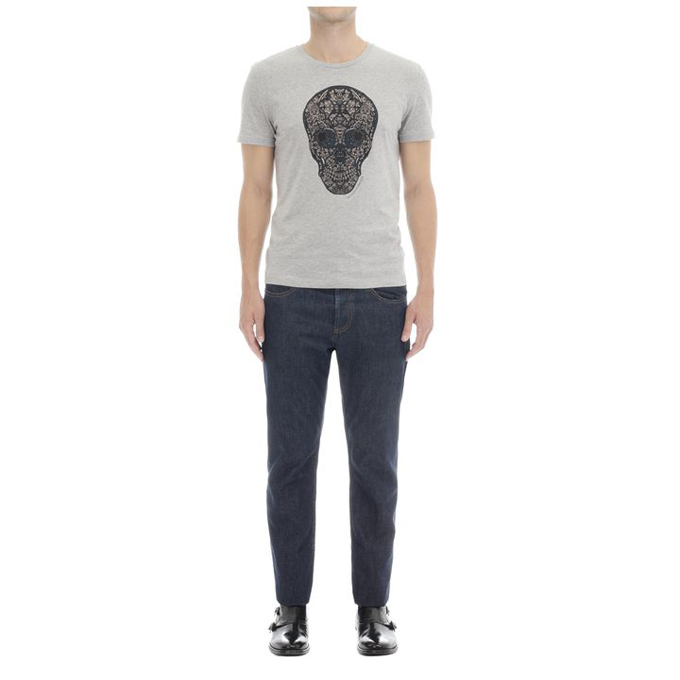 ALEXANDER MCQUEEN MEN STAINED T-SHIRT GLASS SKULL PRINT