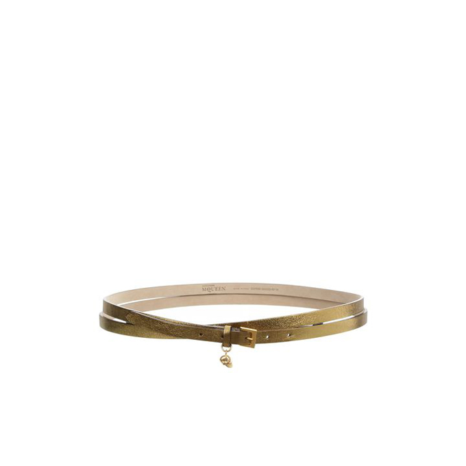 ALEXANDER MCQUEEN WOMEN METALLIC BELT LEATHER DOUBLE WRAP SKULL