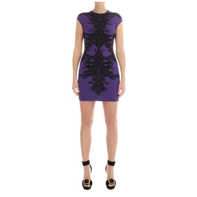 ALEXANDER MCQUEEN WOMEN SPINE MINI-DRESS LACE JACQUARD
