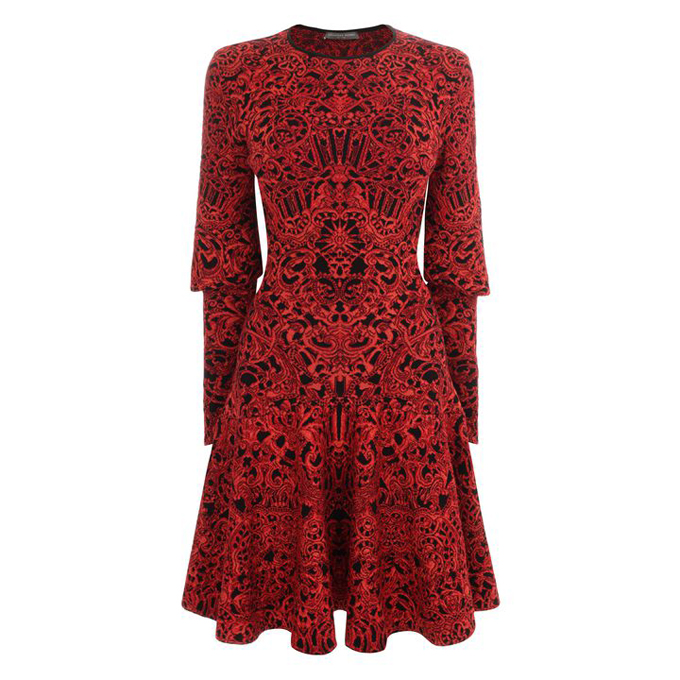 ALEXANDER MCQUEEN WOMEN GLORY DRESS JACQUARD KNIT