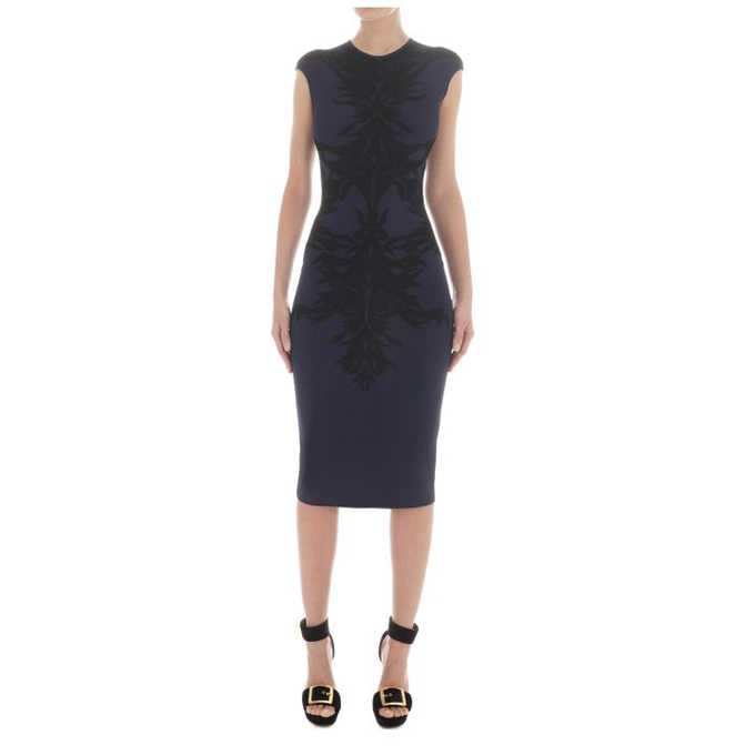 ALEXANDER MCQUEEN WOMEN SPINE DRESS LACE JACQUARD PENCIL