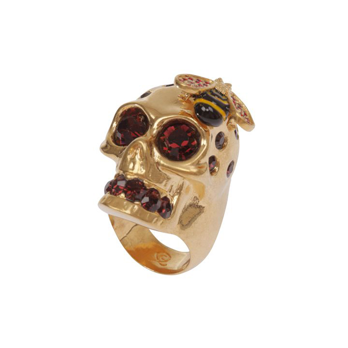 ALEXANDER MCQUEEN WOMEN CRYSTAL RING BEE AND SKULL COCKTAIL