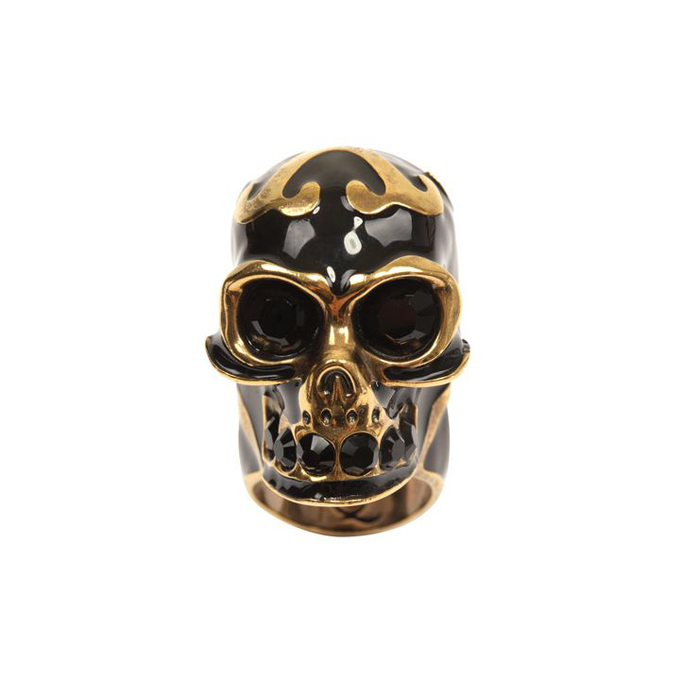 ALEXANDER MCQUEEN WOMEN ENAMEL RING LACE SKULL COCKTAIL