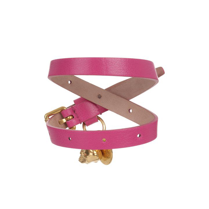 ALEXANDER MCQUEEN WOMEN LEATHER BRACELET DOUBLE WRAP SKULL