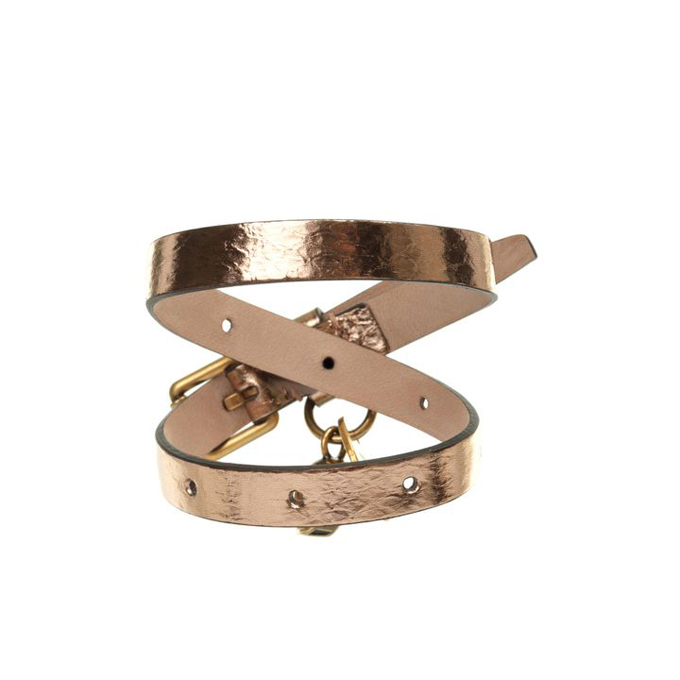 ALEXANDER MCQUEEN WOMEN FOIL BRACELET LEATHER DOUBLE WRAP SKULL