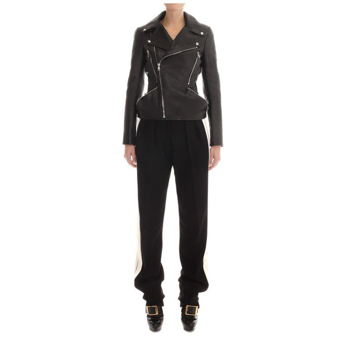 ALEXANDER MCQUEEN WOMEN ZIP JACKET HIP CLASSIC MCQUEEN LEATHER BIKER
