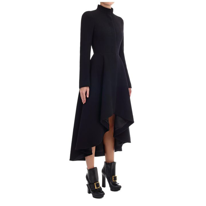 ALEXANDER MCQUEEN WOMEN WAVE COAT RUFFLE DRESS