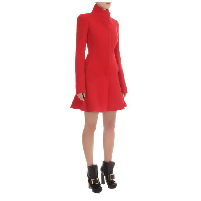 ALEXANDER MCQUEEN WOMEN WAVE COAT PANEL SHORT DRESS