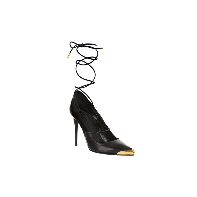 ALEXANDER MCQUEEN WOMEN ANKLE WRAP TOE-CAP POINTY PUMP