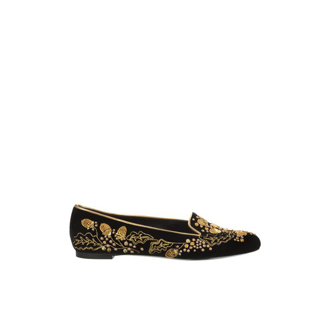 ALEXANDER MCQUEEN WOMEN ACORN SLIPPER EMBROIDERED VELVET SKULL