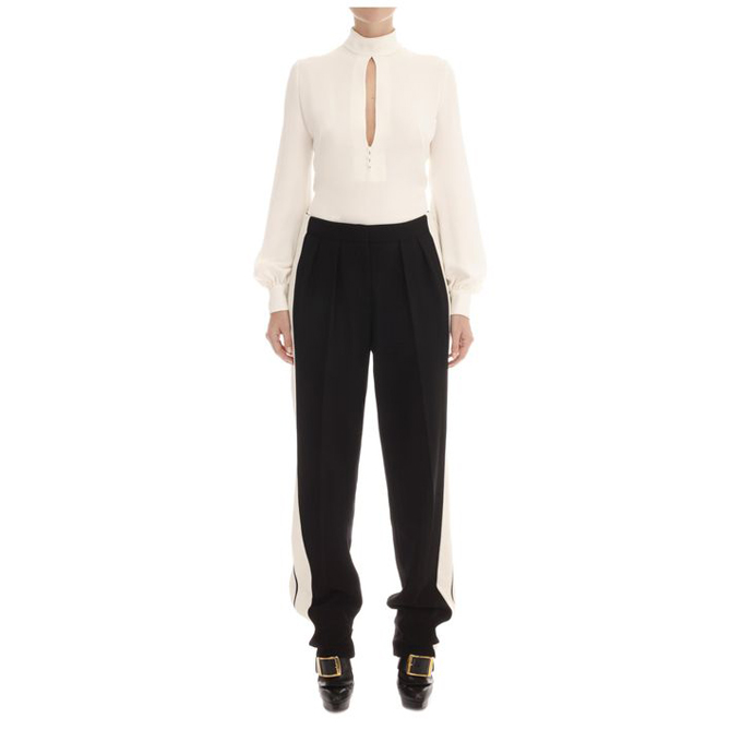 ALEXANDER MCQUEEN WOMEN HIGH-NECK BLOUSE KEYHOLE