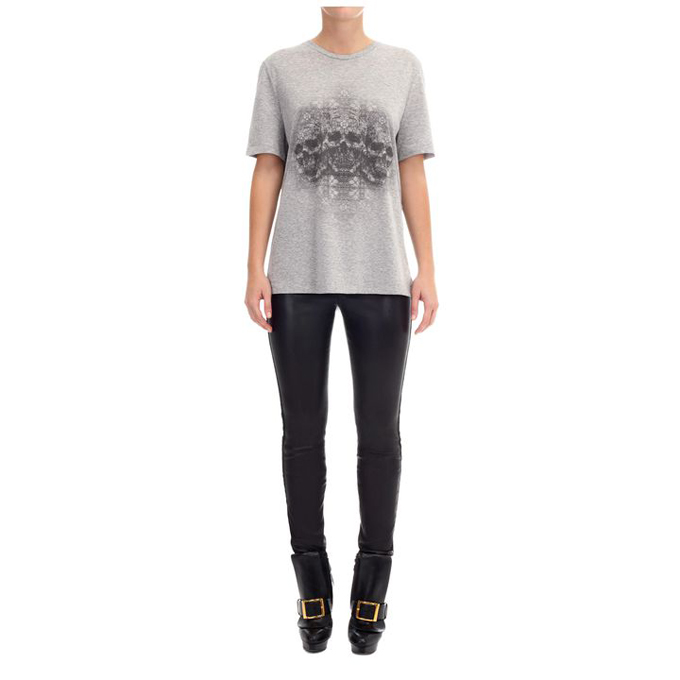 ALEXANDER MCQUEEN WOMEN STAINED T-SHIRT GLASS RHAPSODY SKULL OVERSIZED
