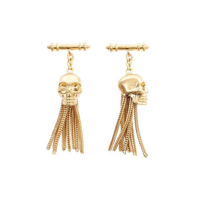 ALEXANDER MCQUEEN MEN DROP CUFFLINKS CHAIN SKULL