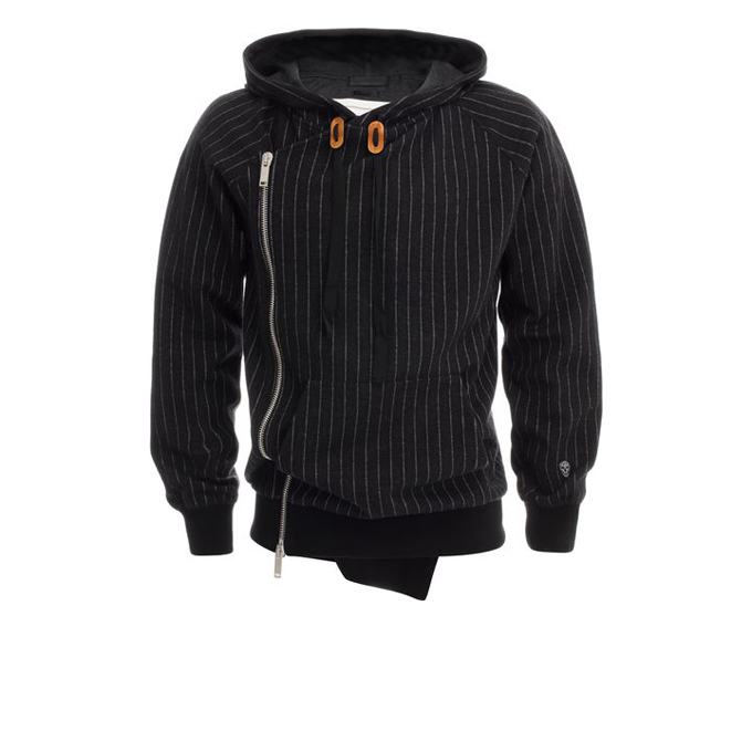 ALEXANDER MCQUEEN MEN PINSTRIPE SWEATSHIRT ZIP-UP HOODED