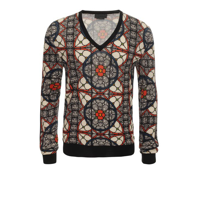 ALEXANDER MCQUEEN MEN STAINED JUMPER GLASS PRINT V-NECK