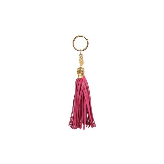 ALEXANDER MCQUEEN WOMEN LEATHER KEY RING TASSEL SKULL