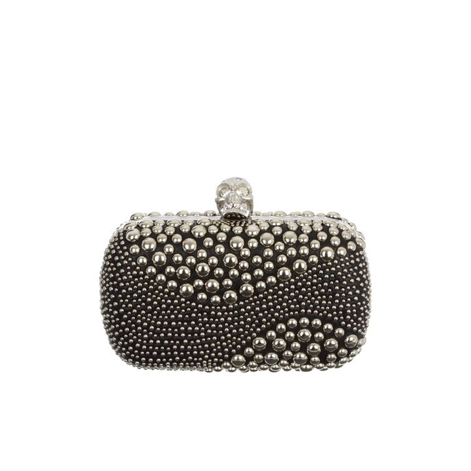 ALEXANDER MCQUEEN WOMEN STUDDED CLUTCH PATCHWORK SKULL BOX