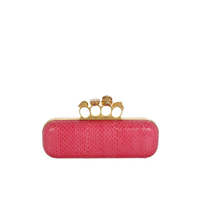 ALEXANDER MCQUEEN WOMEN WHIPSNAKE CLUTCH KNUCKLEBOX