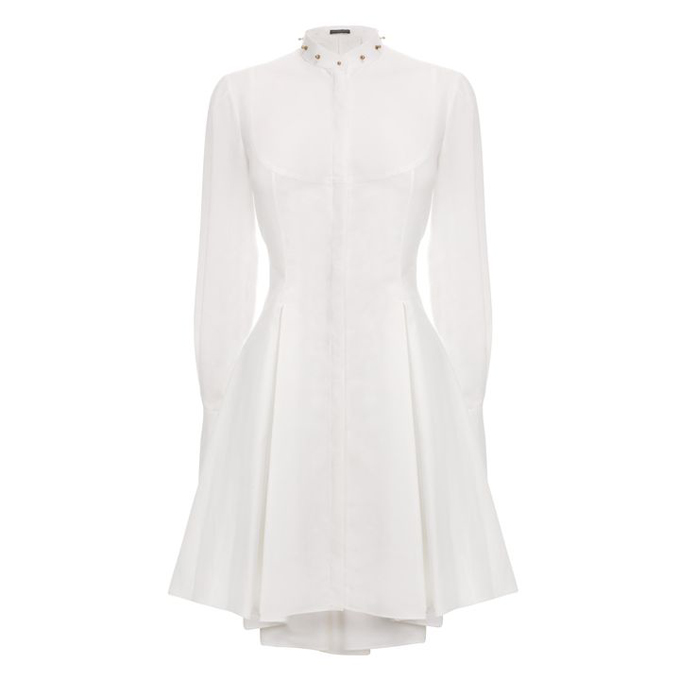 ALEXANDER MCQUEEN WOMEN STUDDED DRESS COLLAR TUXEDO SHIRT