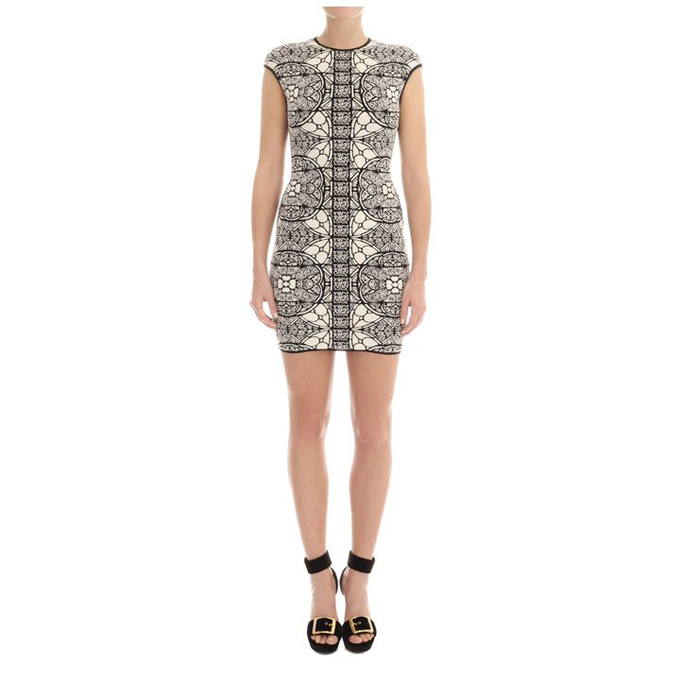 ALEXANDER MCQUEEN WOMEN STAINED DRESS GLASS CHENILLE JACQUARD MINI