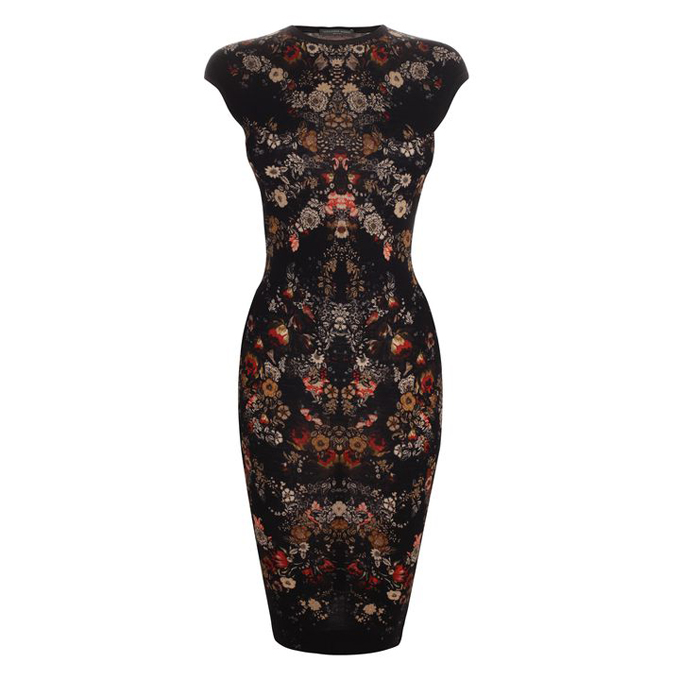 ALEXANDER MCQUEEN WOMEN FLORAL DRESS PRINT PENCIL