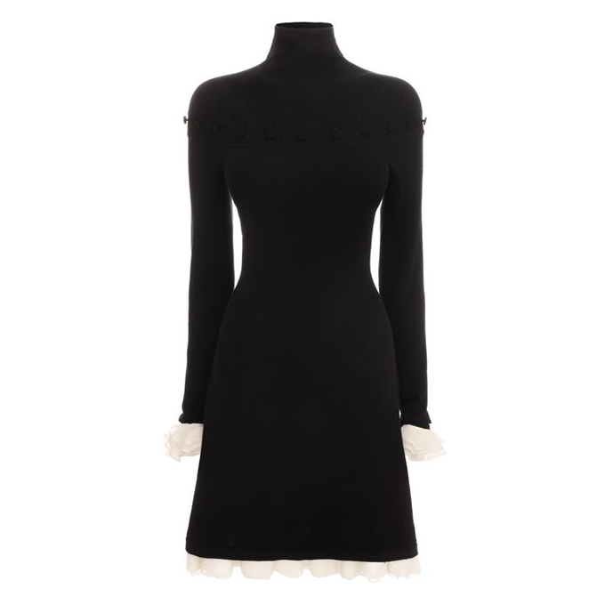 ALEXANDER MCQUEEN WOMEN SILK DRESS RUFFLE