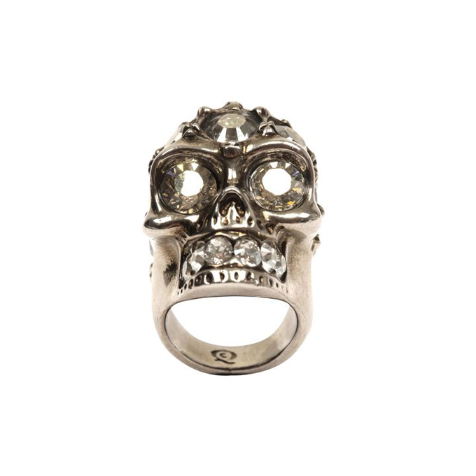 ALEXANDER MCQUEEN WOMEN GLORY RING CRYSTAL SKULL COCKTAIL