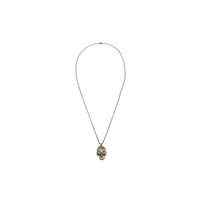 ALEXANDER MCQUEEN WOMEN BRASS PENDANT GLORY SKULL WITH CLEAR CRYSTAL DETAIL.