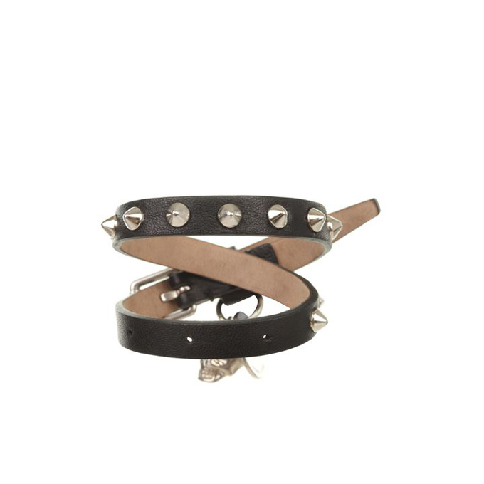 ALEXANDER MCQUEEN WOMEN CONE BRACELET STUD LEATHER DOUBLE WRAP SKULL