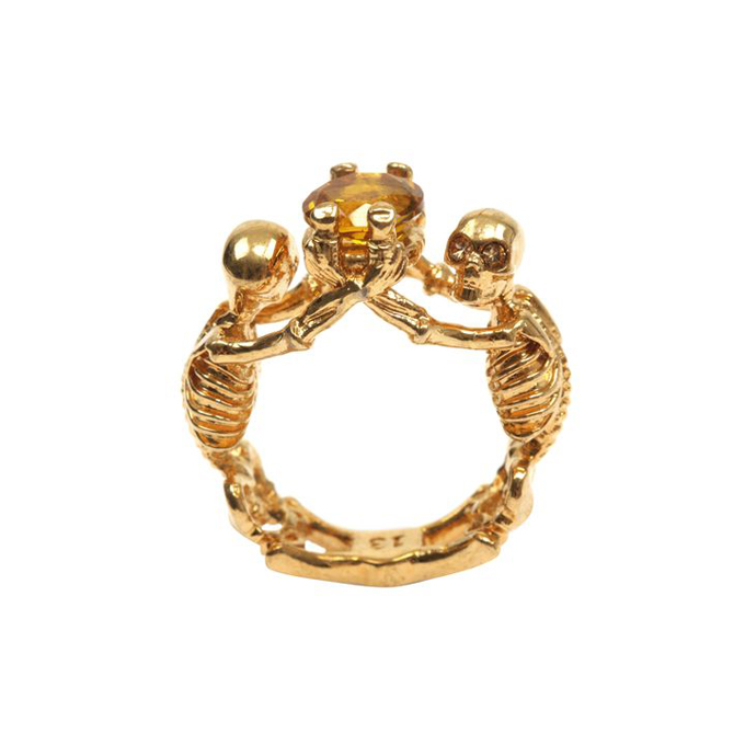 ALEXANDER MCQUEEN WOMEN TWIN RING SKELETON JEWEL