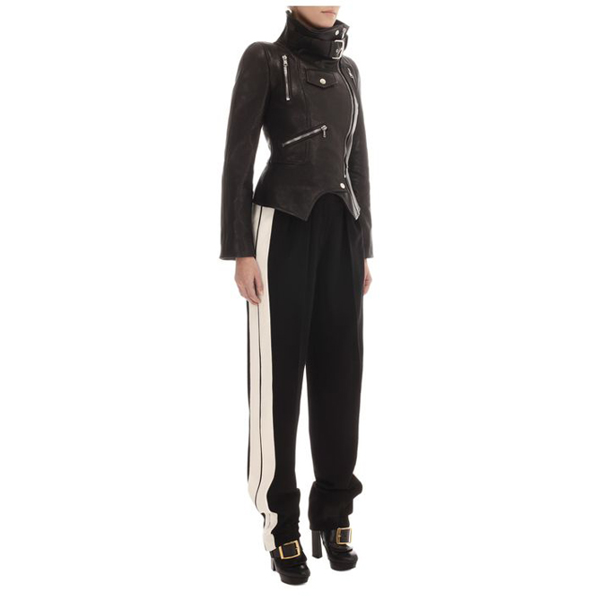 ALEXANDER MCQUEEN WOMEN FUNNEL JACKET NECK LEATHER