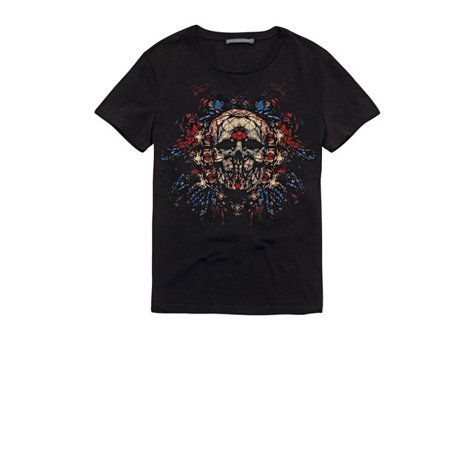 ALEXANDER MCQUEEN WOMEN STAINED T-SHIRT GLASS SKULL