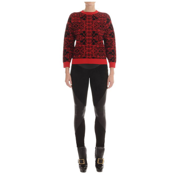 ALEXANDER MCQUEEN WOMEN STAINED JUMPER GLASS CHENILLE JACQUARD BOXY