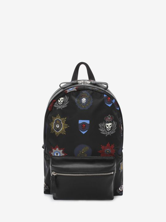ALEXANDER MCQUEEN Black Nylon And Leather Skull With Badges Backpack